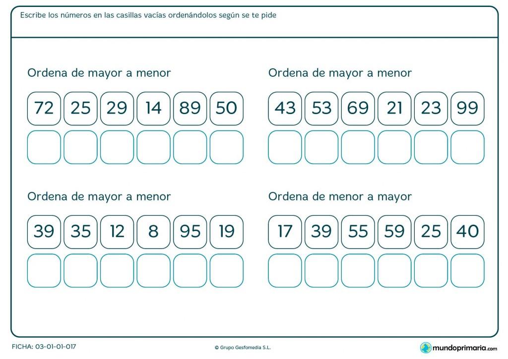 Ficha de recolocar los números para Primaria