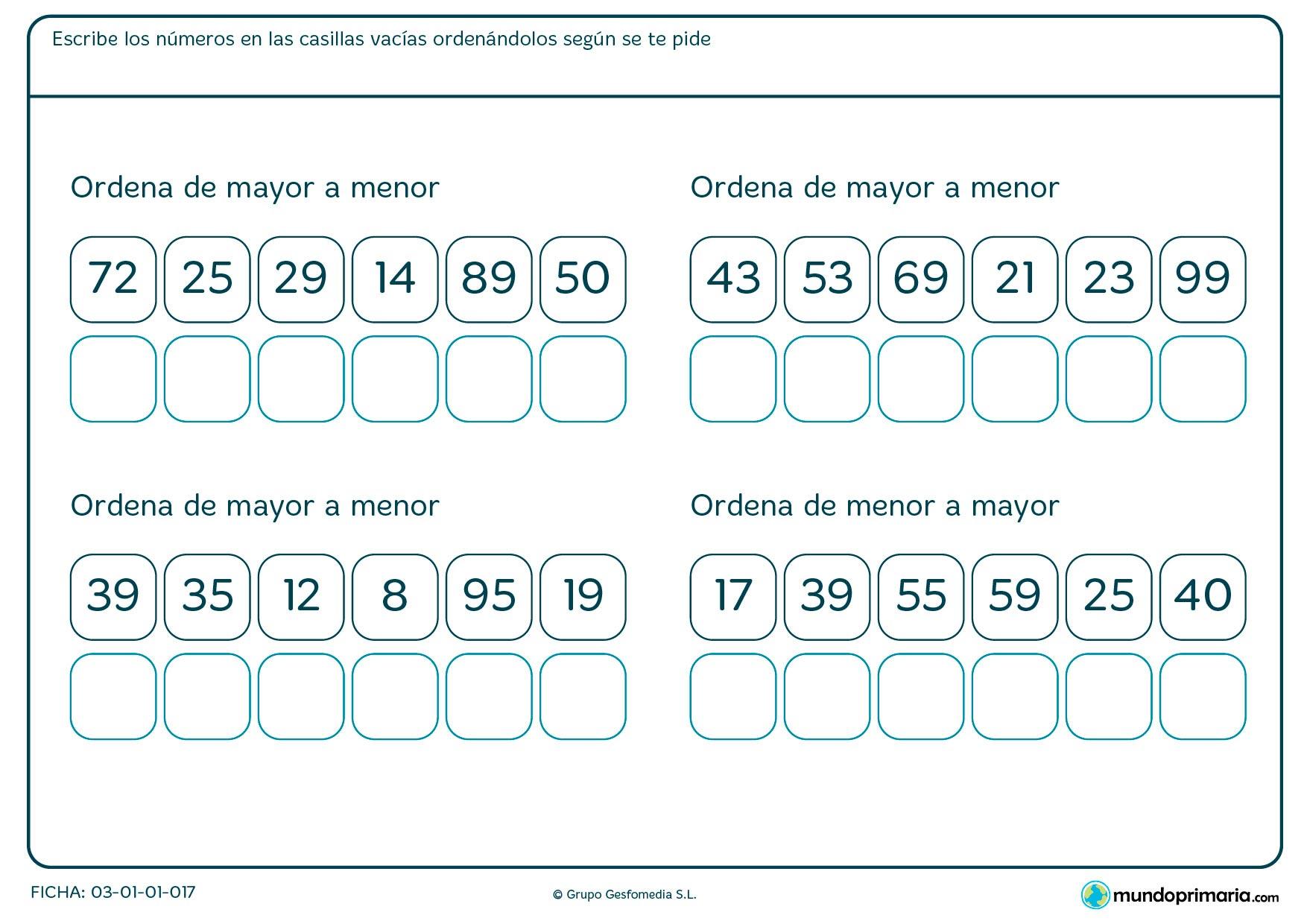 Ficha de recolocar los números en el que hay que poner los números en la casilla correspondiente de forma ordenada.