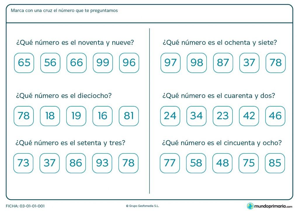 Ficha de reconocer los números escritos para niños de primaria