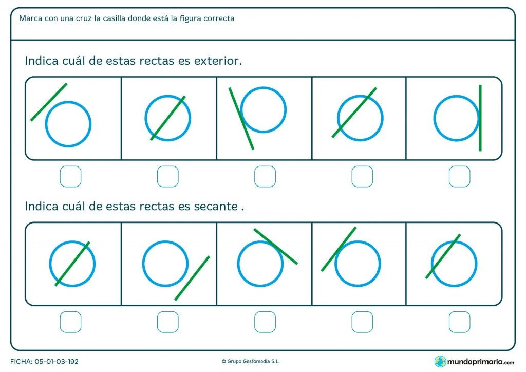 Ficha de rectas exteriores y secantes para Primaria