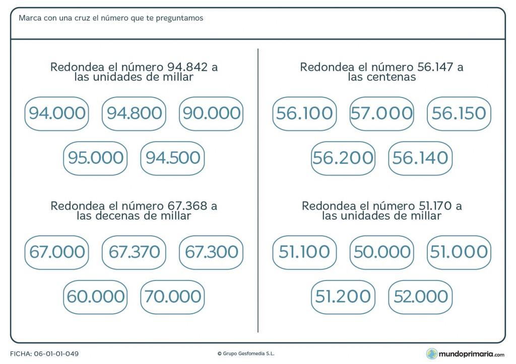 Ficha de practicar el redondeo de números de 5 cifras para Primaria