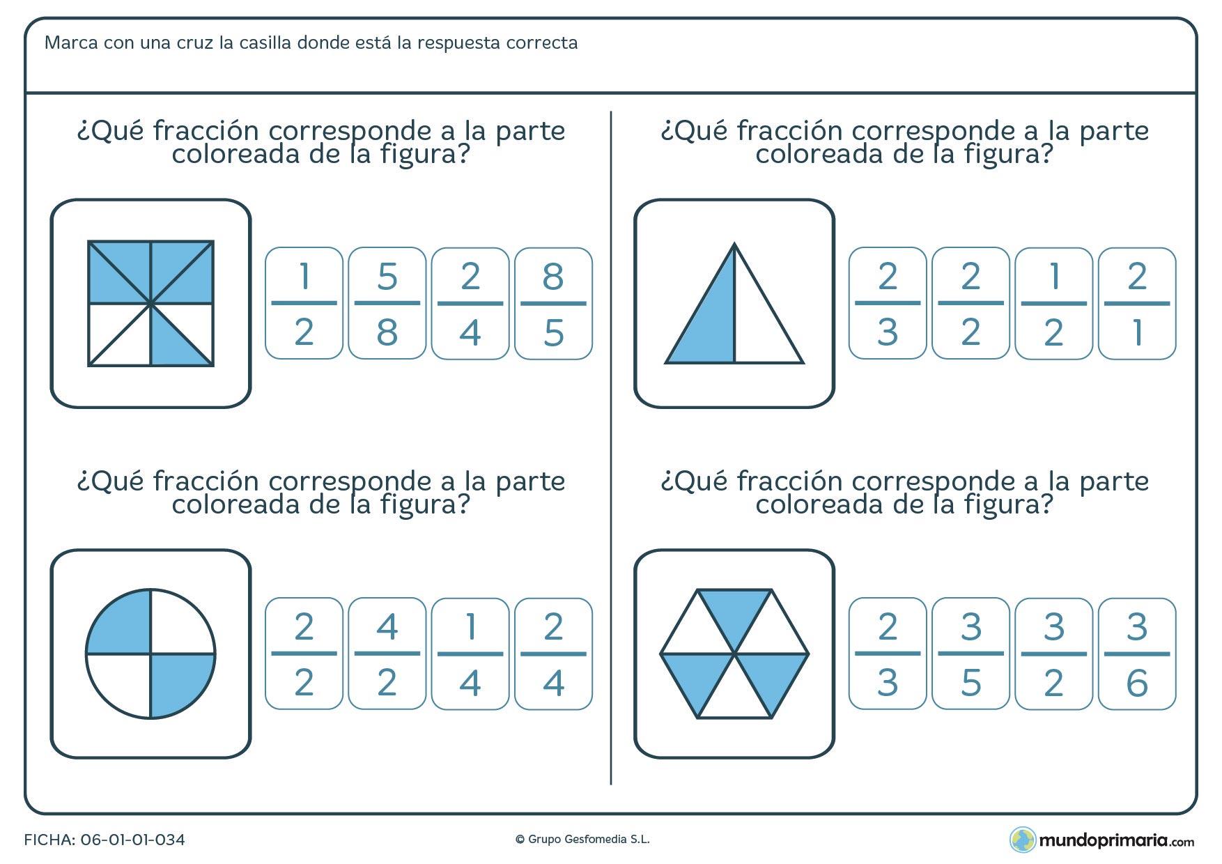 Ficha consistente en relacionar la parte coloreada de las distintas figuras con una de las fracciones que se proponen