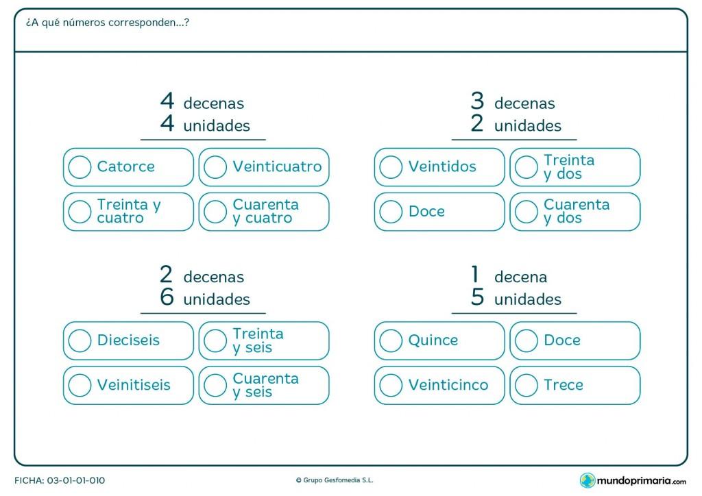 Ficha de relacionar unidades y decenas con su número para Primaria