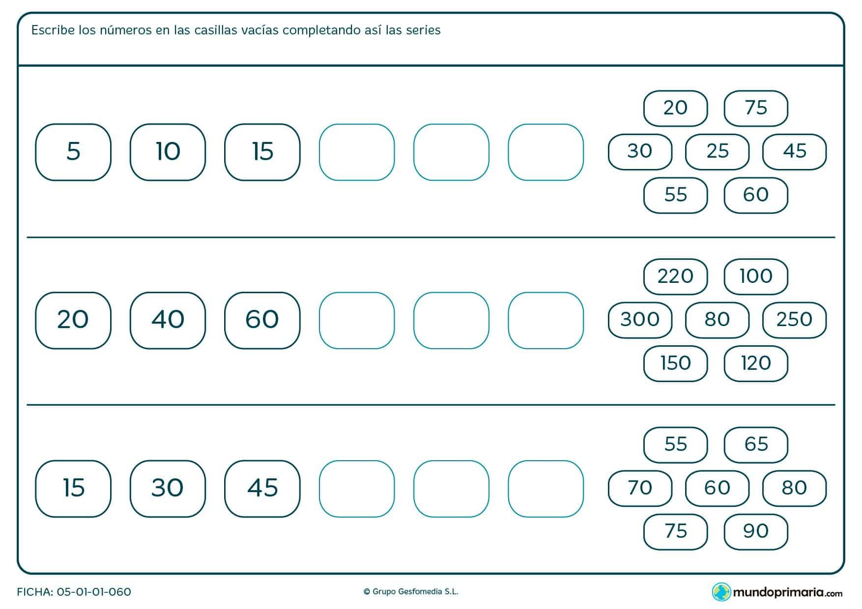 Rellena los huecos con los números correctos en cada caso para completar la serie.
