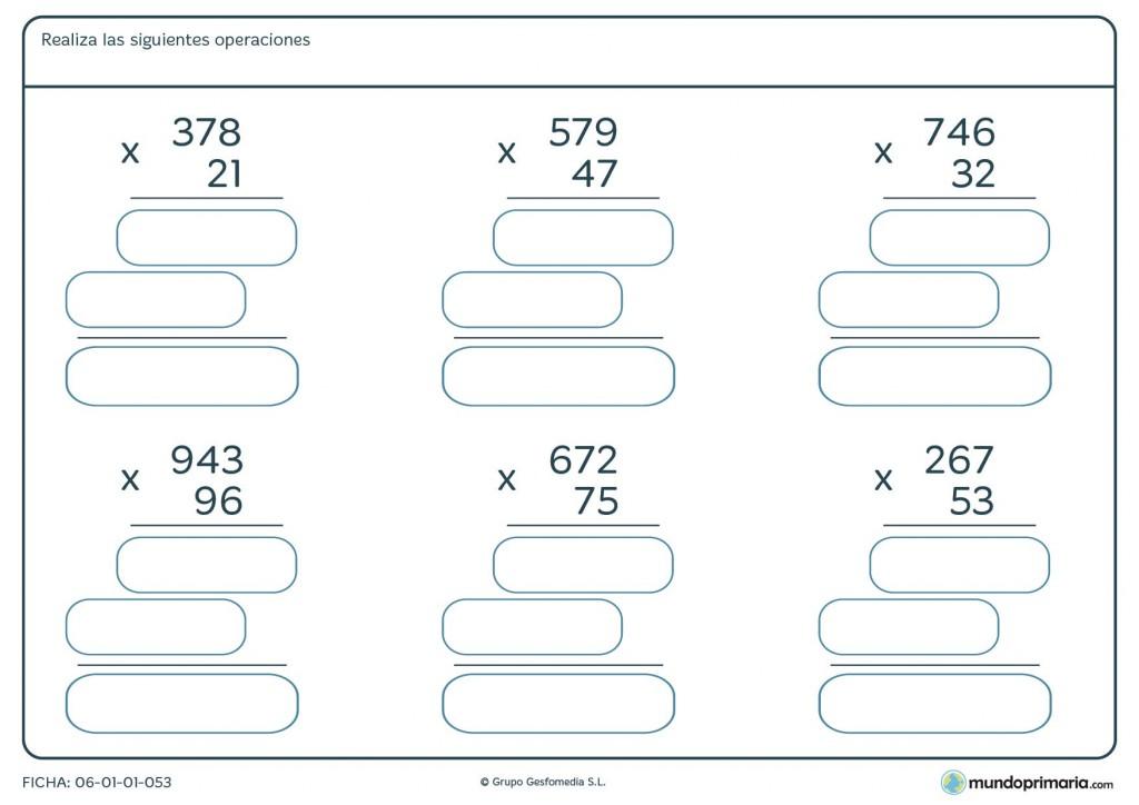 Ficha de resolver operaciones de multiplicación para 4º de Primaria
