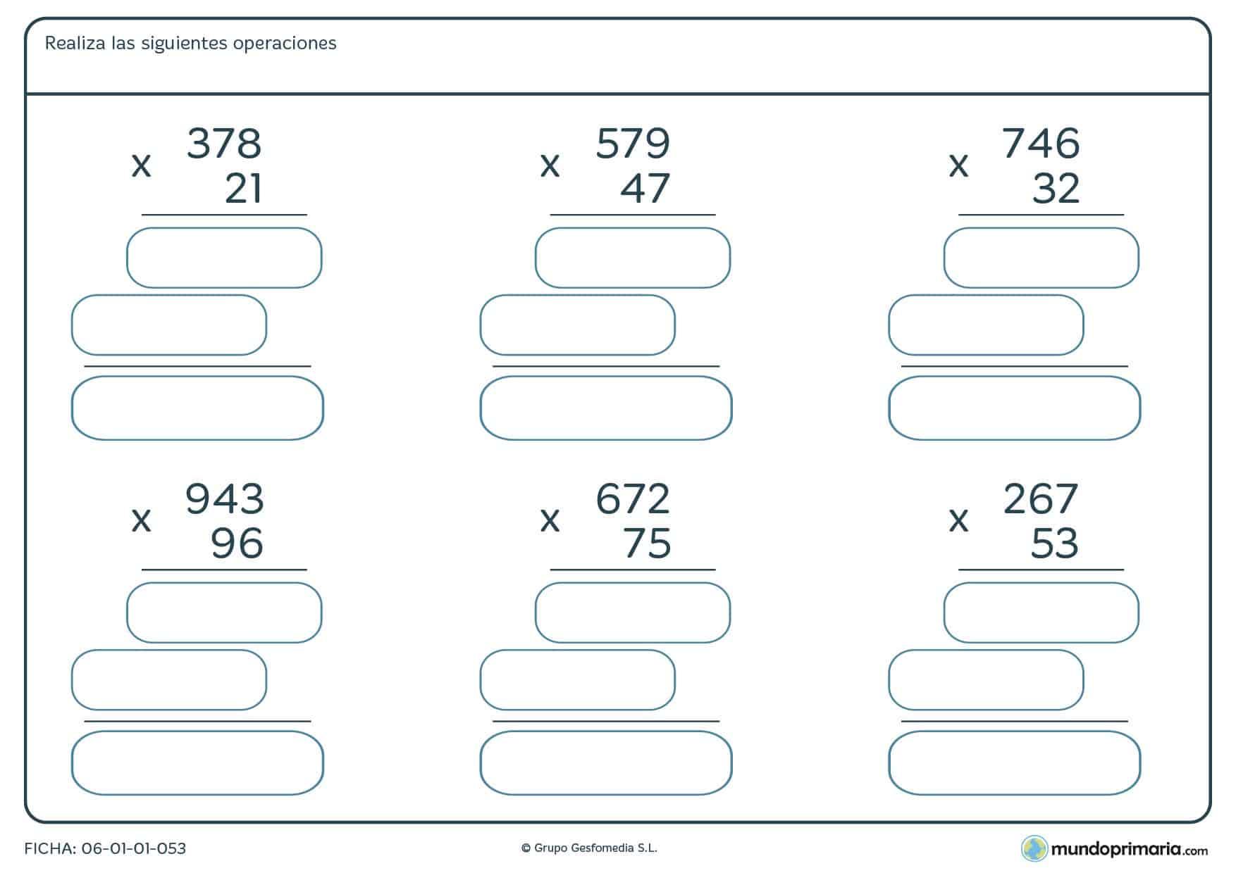 Ficha para niños de 4º de Primaria consistente en resolver seis operaciones de multiplicación .