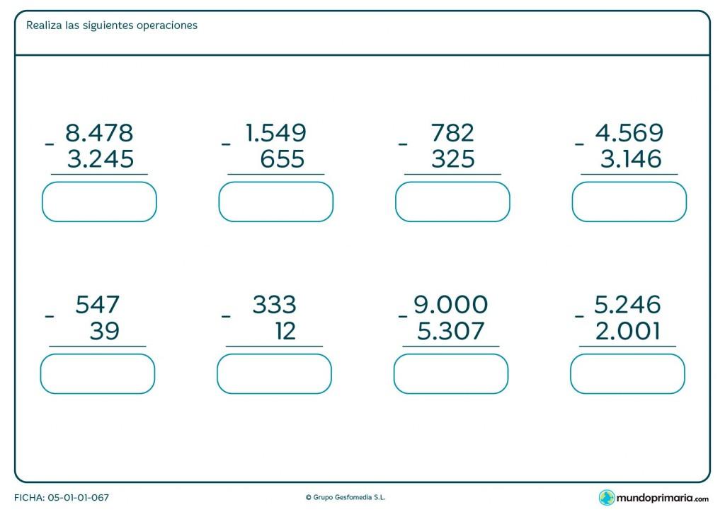 Ficha de resolver restas de números de hasta 4 cifras para Primaria