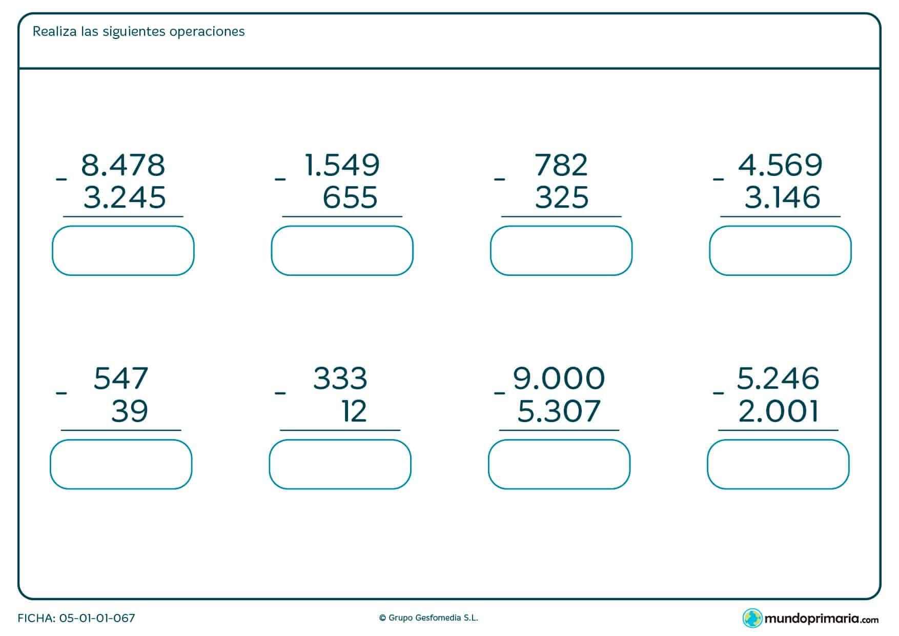 Halla la solucion de estas restas verticales de números de hasta 4 cifras.