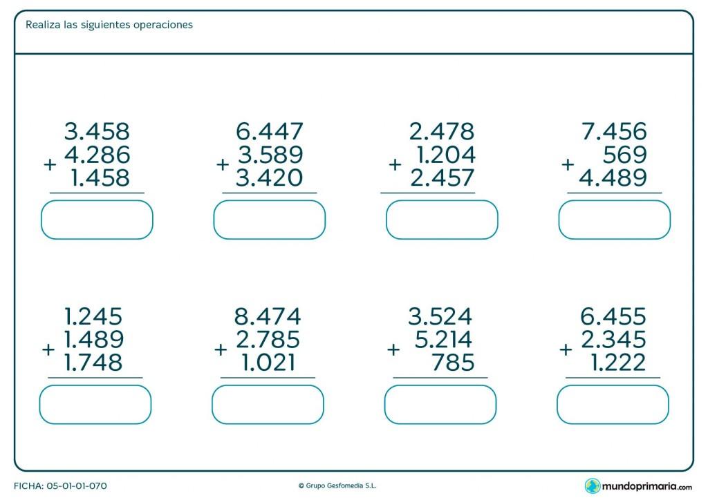 Ficha de resolver sumas de 3 números hasta cuatro cifras en Primaria