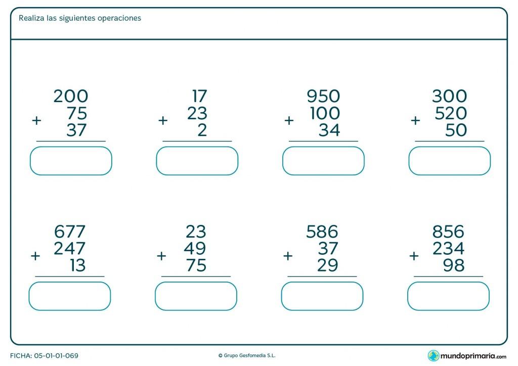 Ficha de resolver sumas de 3 números hasta tres cifras para Primaria