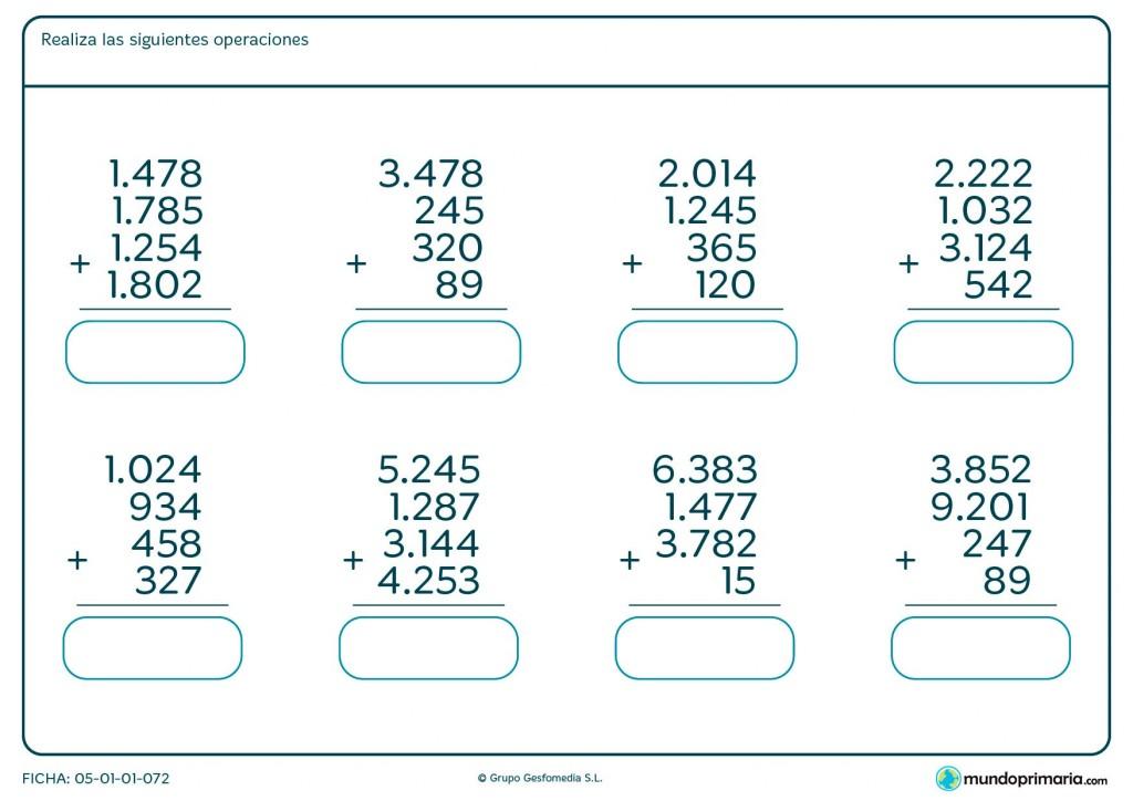 Ficha de resolver sumas de 4 números hasta cuatro cifras en Primaria