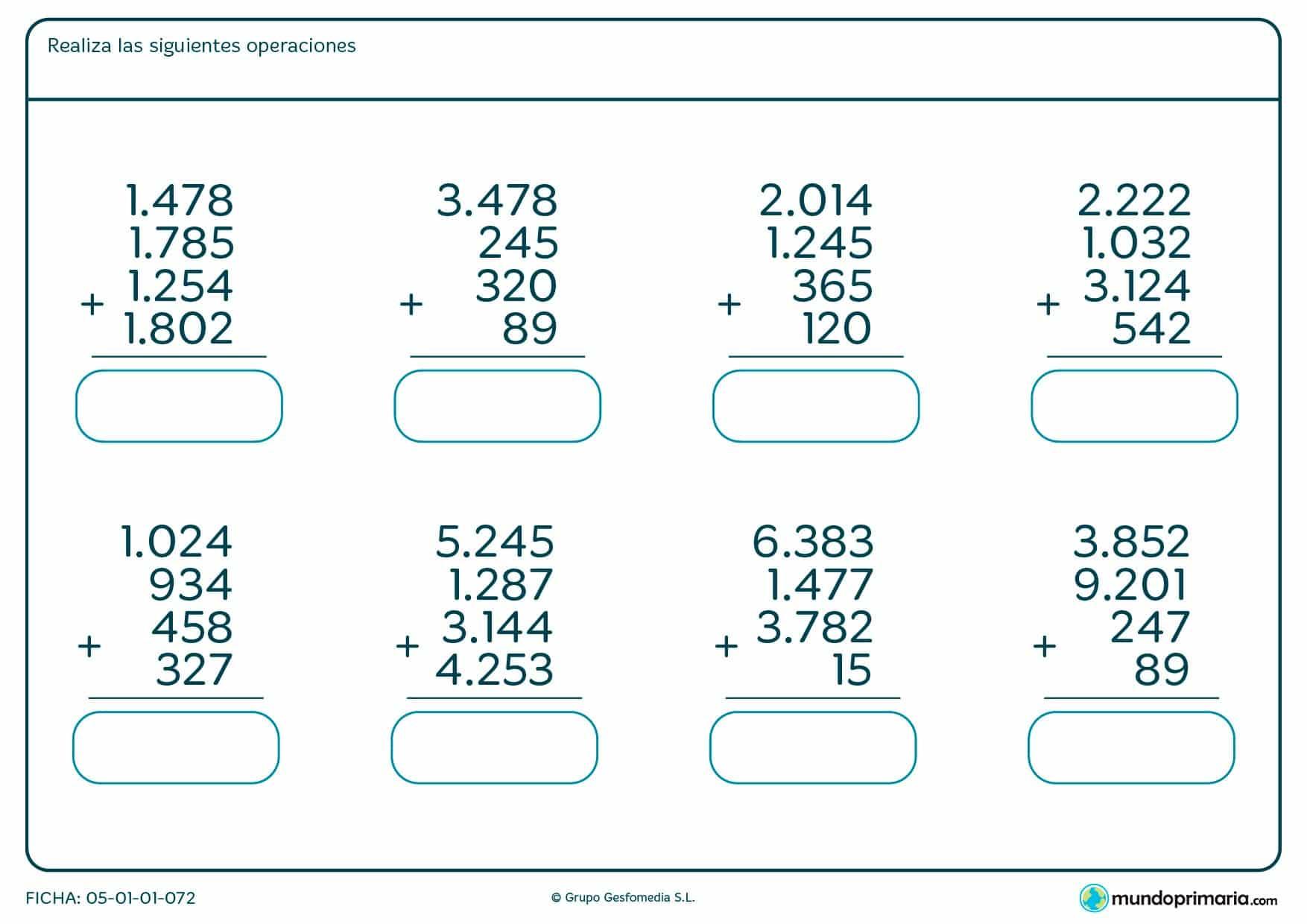 Resuelve esta ficha de ocho sumas de cuatro números cada una.