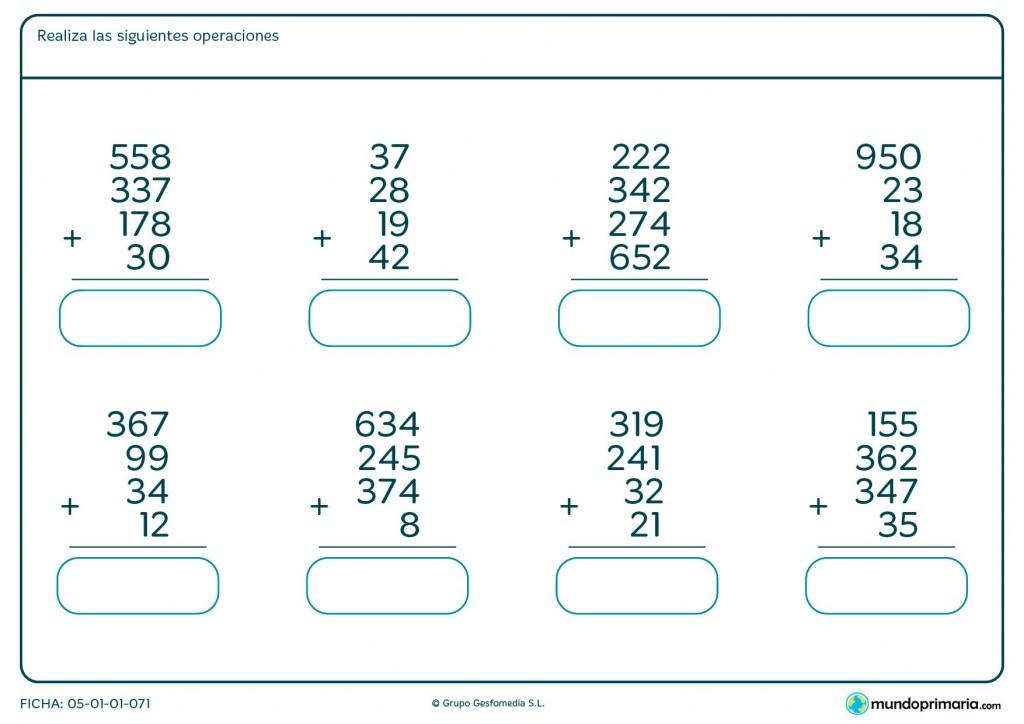 Ficha de resolver sumas de 4 números hasta tres cifras para Primaria