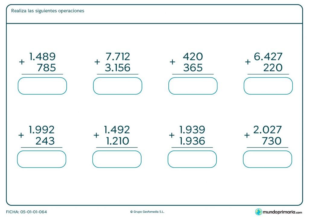 Ficha de resolver sumas de hasta 4 cifras para Primaria