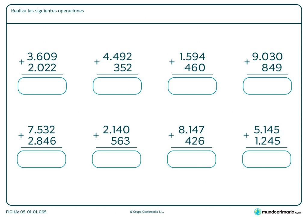Ficha de resolver sumas verticales de hasta 4 cifras para Primaria