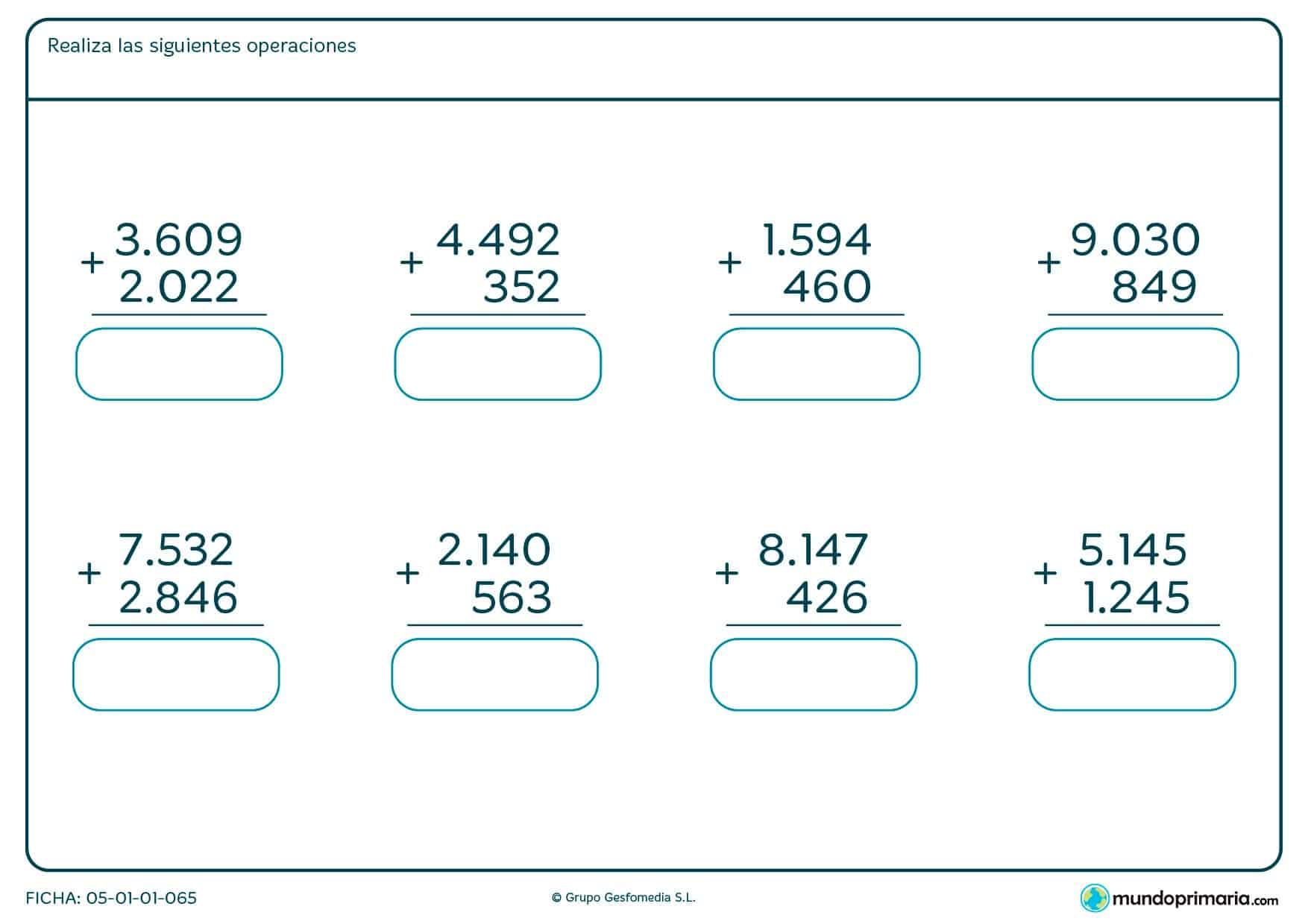 Completa los huecos en blanco con las soluciones a las sumas propuestas.