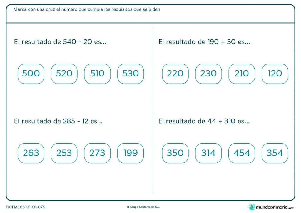 Ficha de resolver sumas y restas horizontales para Primaria