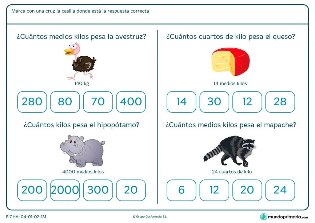Ficha de saber cuánto pesa un objetos para primaria