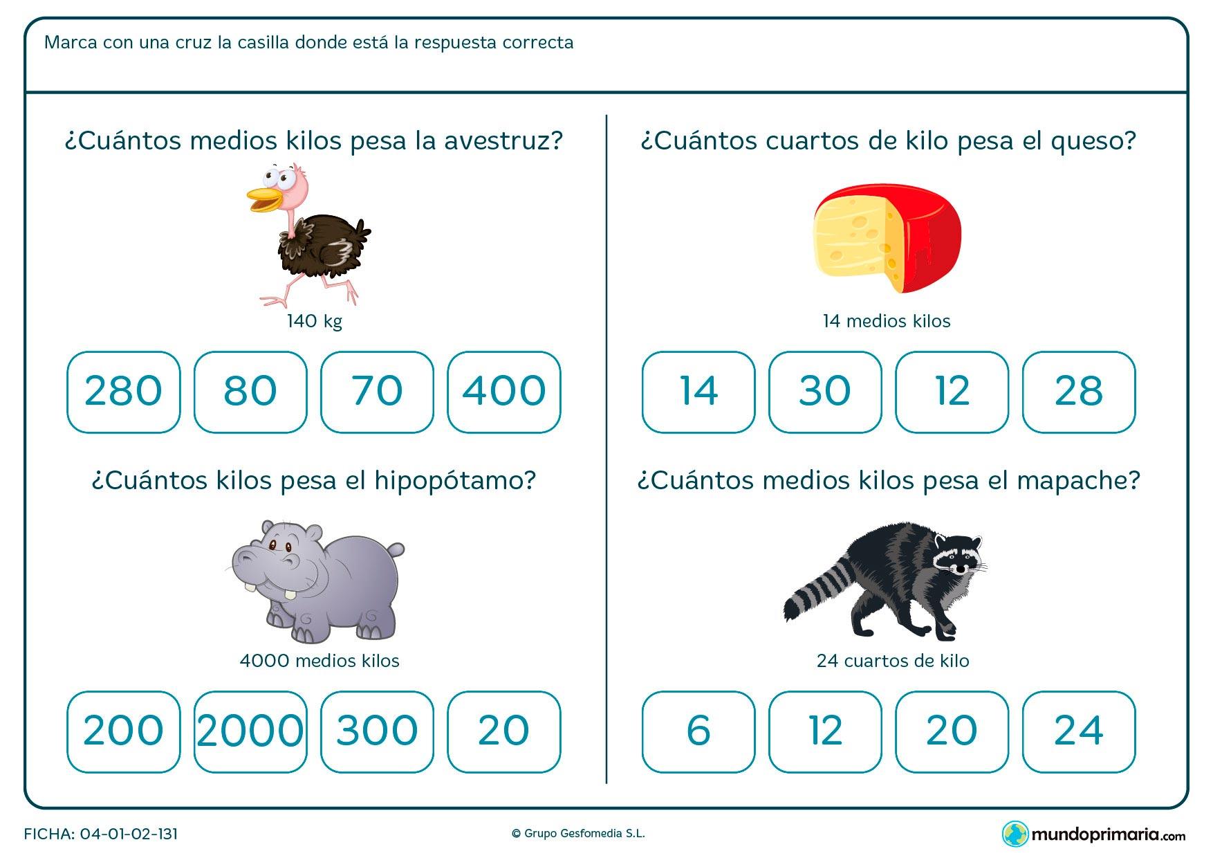 Ficha de saber cuánto pesa un objeto para niños de siete a ocho años en la que tendrán que atender al peso del objeto presentado y relacionarlo con otra unidad de peso equivalente.