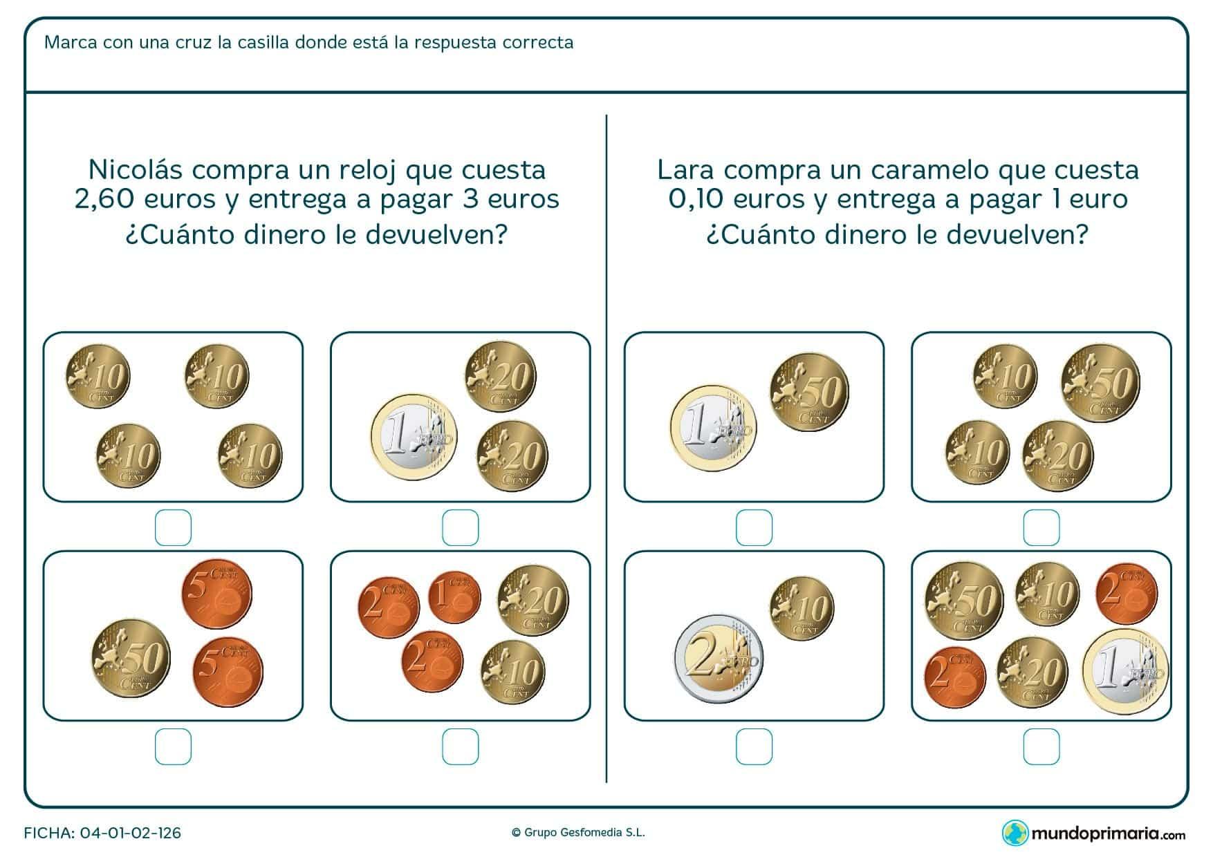 Ficha de saber el dinero a devolver para niños de segundo de Primaria en la que los niños calcularán el cambio correcto tras haber comprado un objeto.