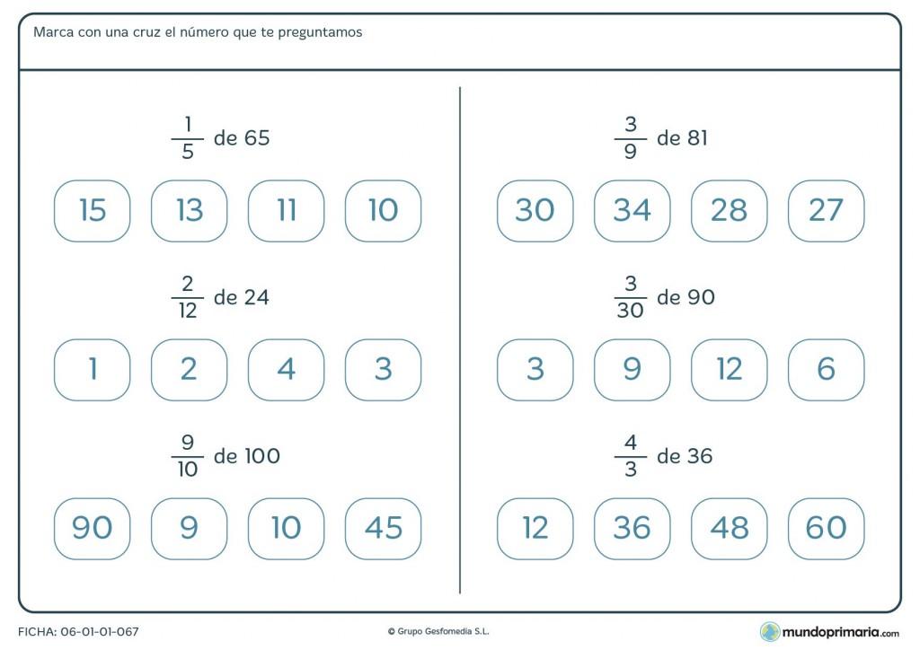 Ficha de señalar el número resultante de la fracción para Primaria