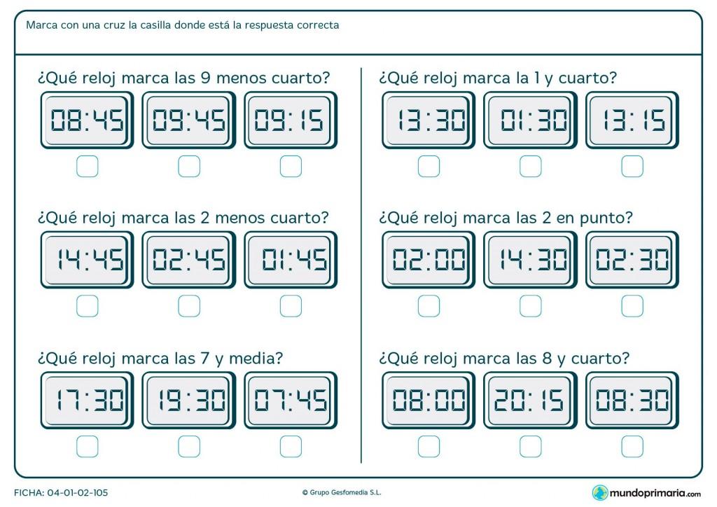 Ficha de señalar el reloj adecuado para primaria