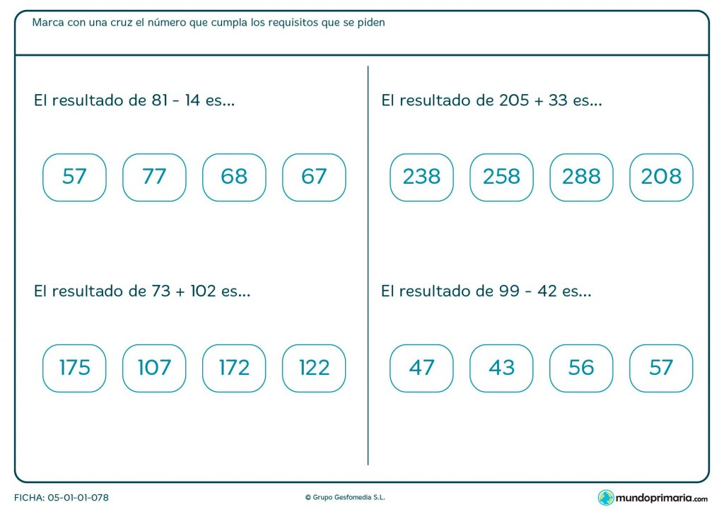 Ficha de señalar el resultado de sumas y restas para Primaria