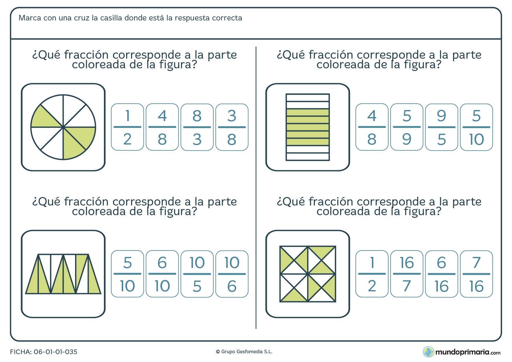 Ficha de señalar la fracción que corresponde al relleno de color de las figuras propuestas en cada ejercicio