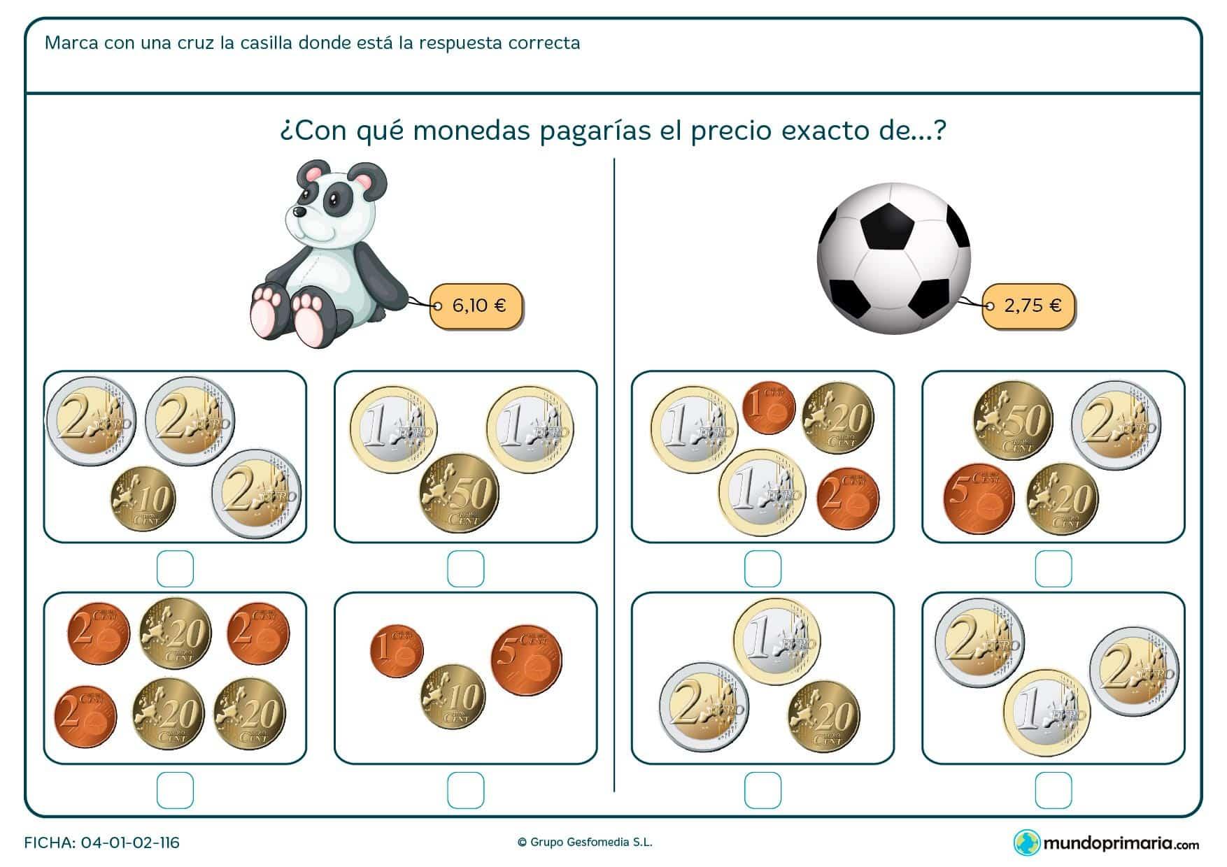 Ficha de señalizar el precio exacto de la pelota para segundo de Primaria por la que los niños optarán por una combinación de monedas según el precio del objeto.