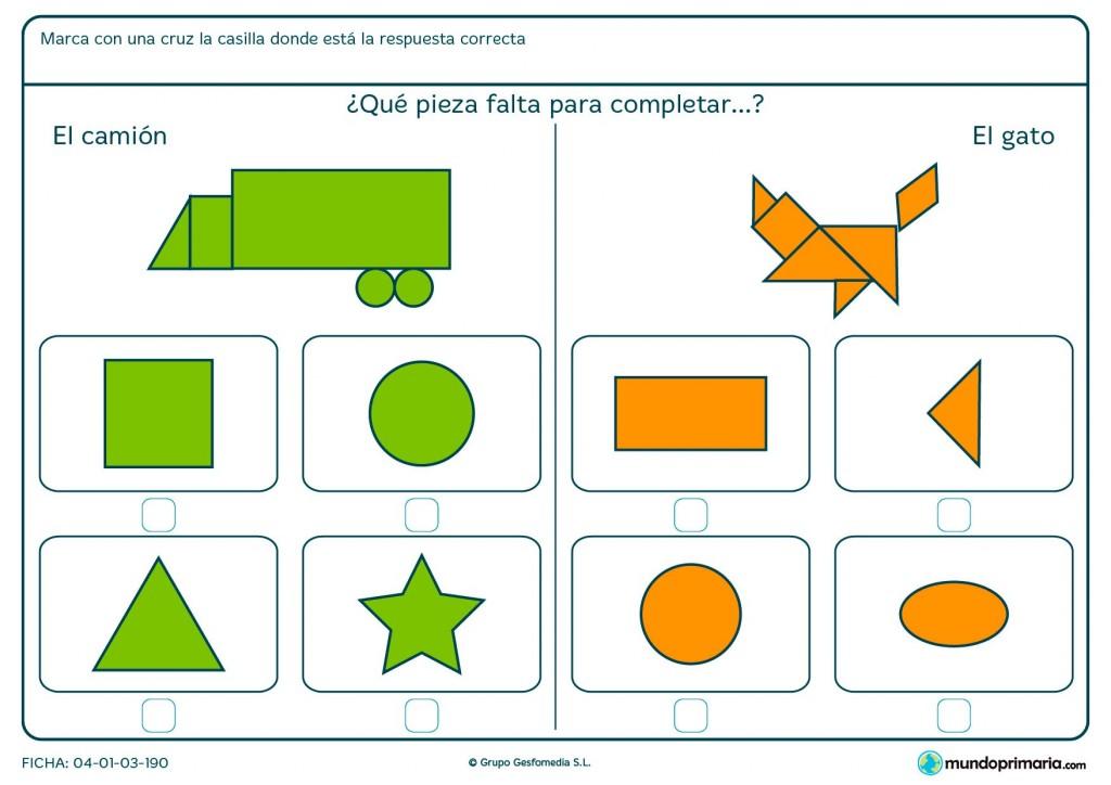 Ficha de seleccionar el polígono que falta en la figura para primaria