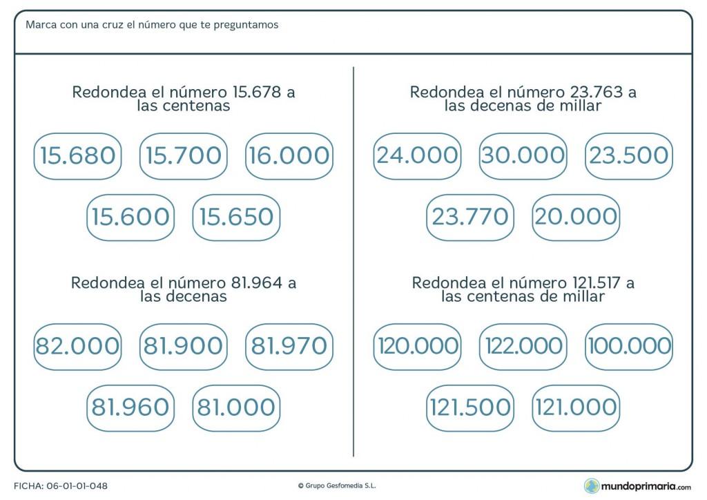 Ficha de seleccionar el redondeo correcto para niños de 4º de Primaria