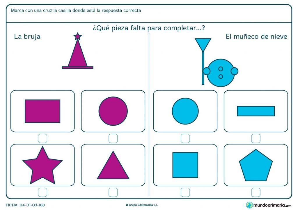 Ficha de seleccionar la opción que complete la figura para primaria