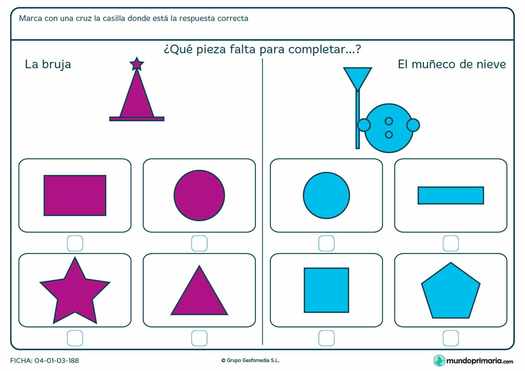 Ficha de seleccionar la opción que complete la figura en la que tendrás que considerar la forma poligonal que falta en la figura.