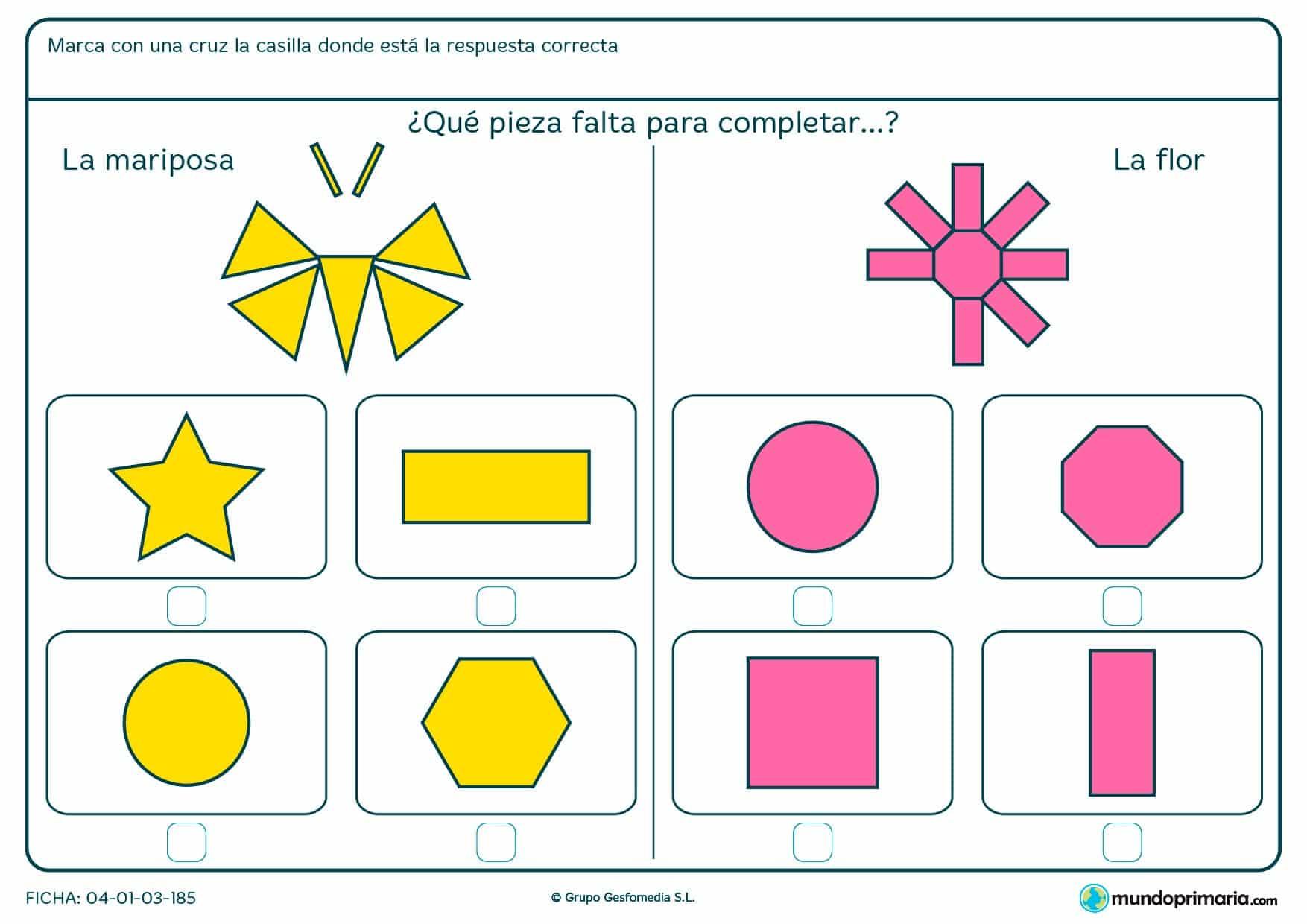 Ficha de seleccionar la pieza que completa la figura en la que tendrás que seleccionar la forma poligonal que falta en la figura.