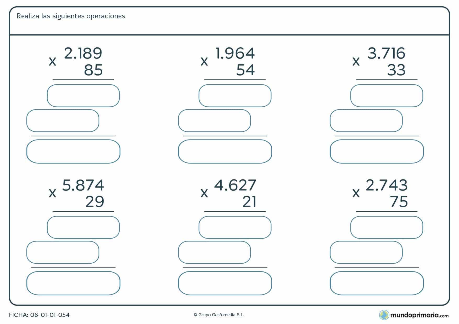 Ficha de seis operaciones de solucionar multiplicaciones de 2 cifras para niños de 4º de Primaria.