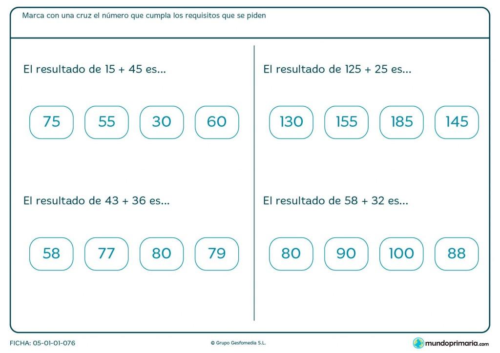 Ficha de solucionar sumas y restas horizontales para Primaria