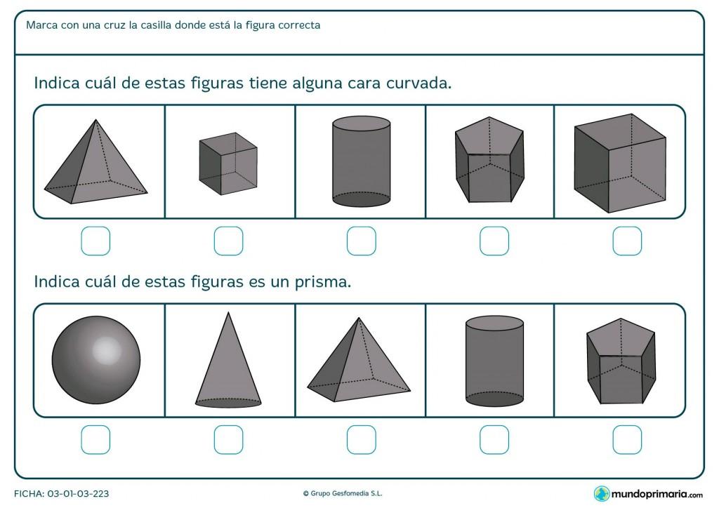 Ficha de superficies curvas para primaria