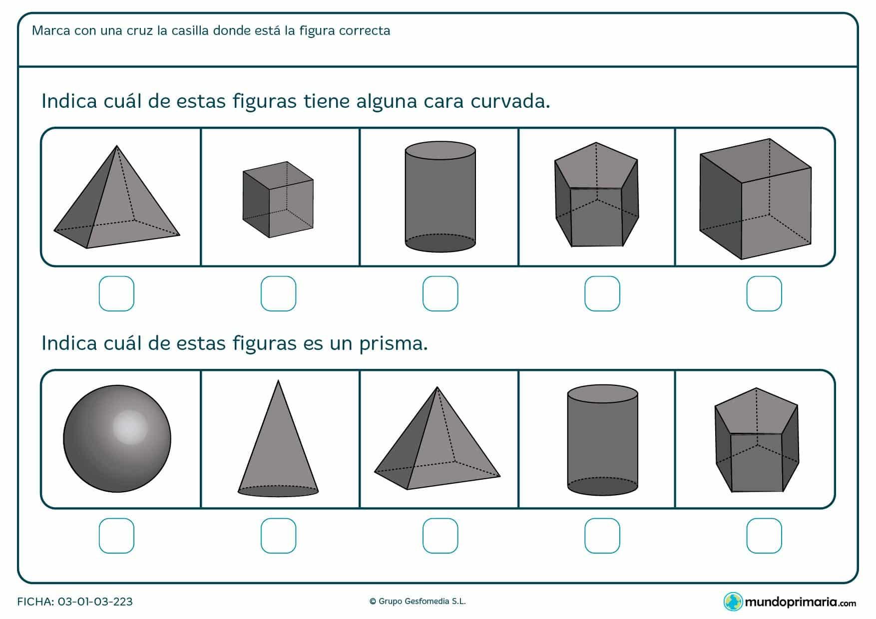Ficha de superficies curvas en el que hay que marcar con una cruz la casilla en la que se encuentre la figura correcta.