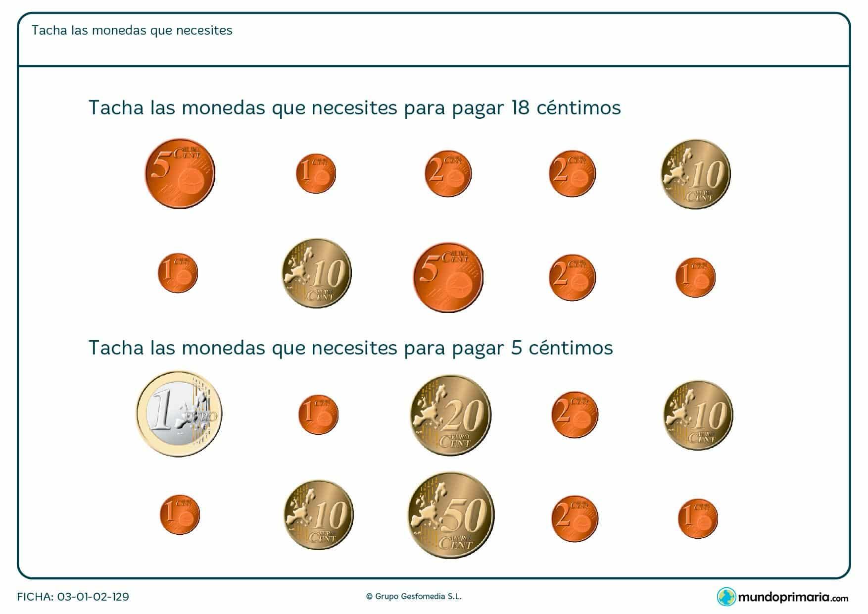 Ficha de tachar monedas en la que hay que seleccionar las monedas que necesitas para sumar una cantidad de dinero.