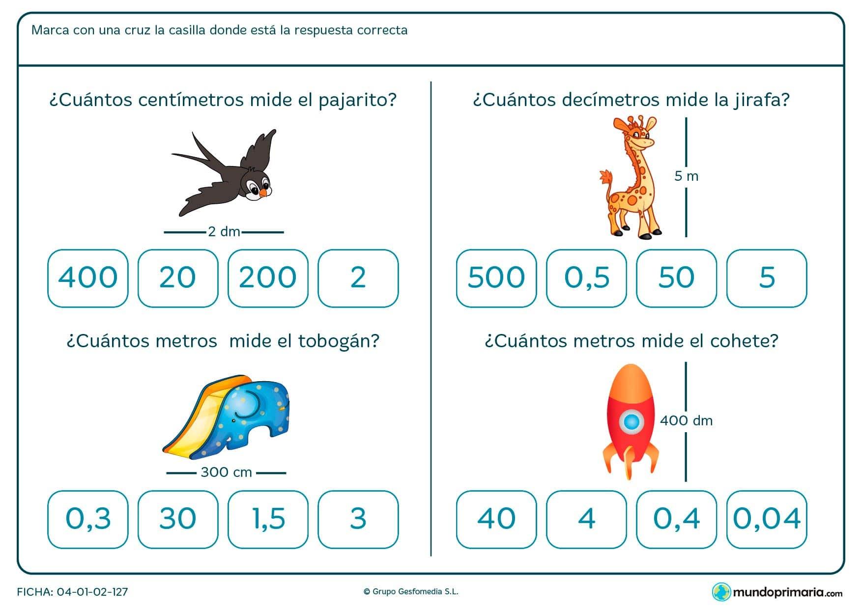 Ficha de tomar medidas de objetos para niños de Primaria en la que tendrán que identificar una medida y su equivalencia.