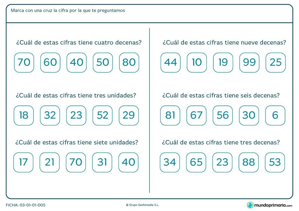 Ficha de unidades y decenas de los números para Primaria
