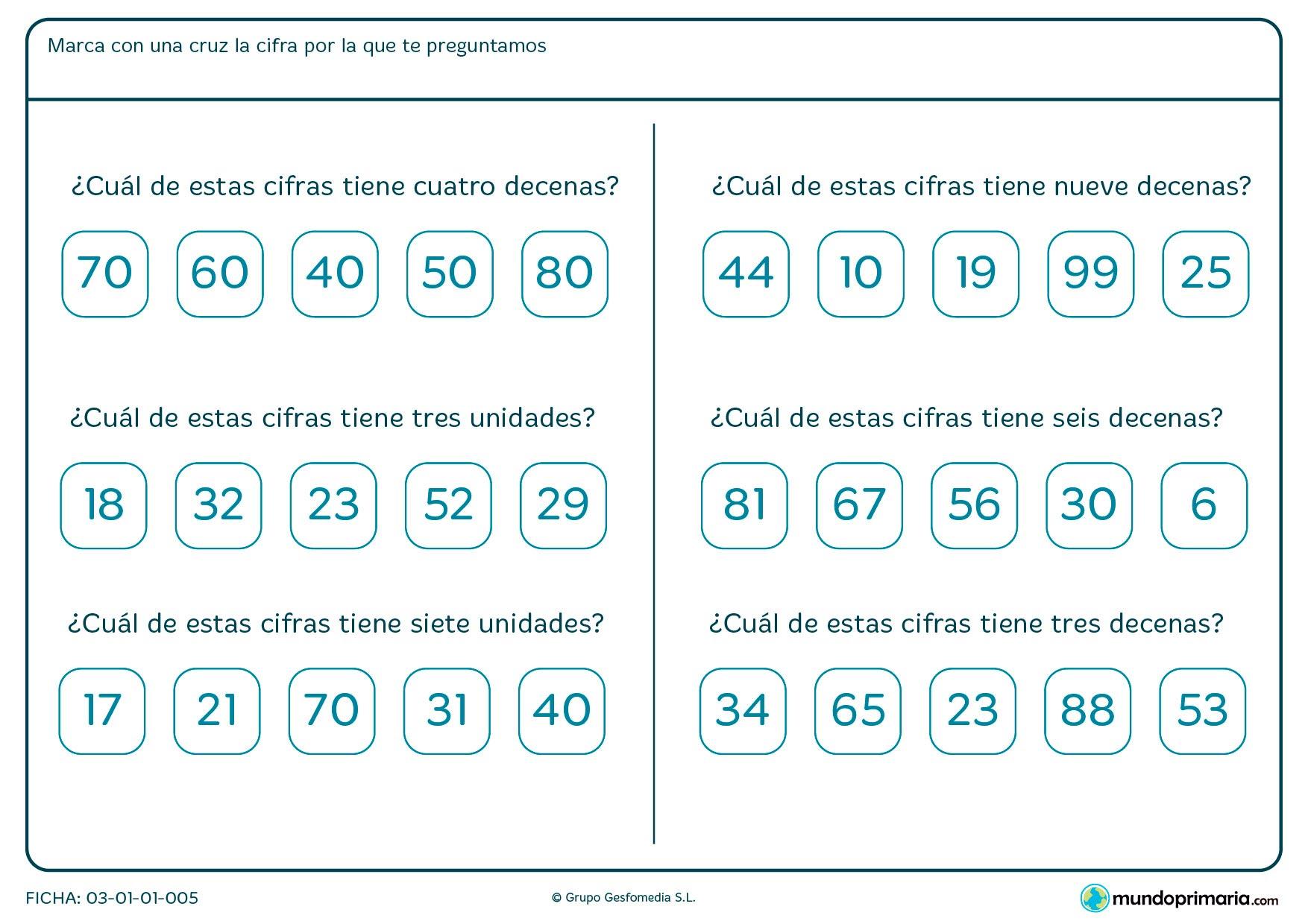 Ficha de unidades y decenas de los números para marcar la respuesta correcta de las opciontes dadas.