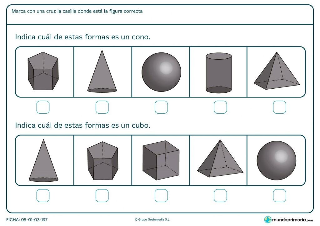 Ficha del cono y el cubo para Primaria