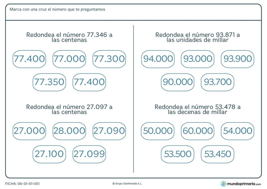 Ficha del proceso de redondeo de números para cuarto de Primaria