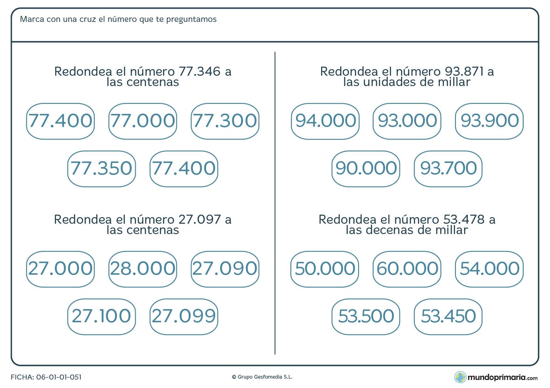 Ficha del proceso de redondeo de números en la que se dan varias soluciones y el niño debe seleccionar una de ellas