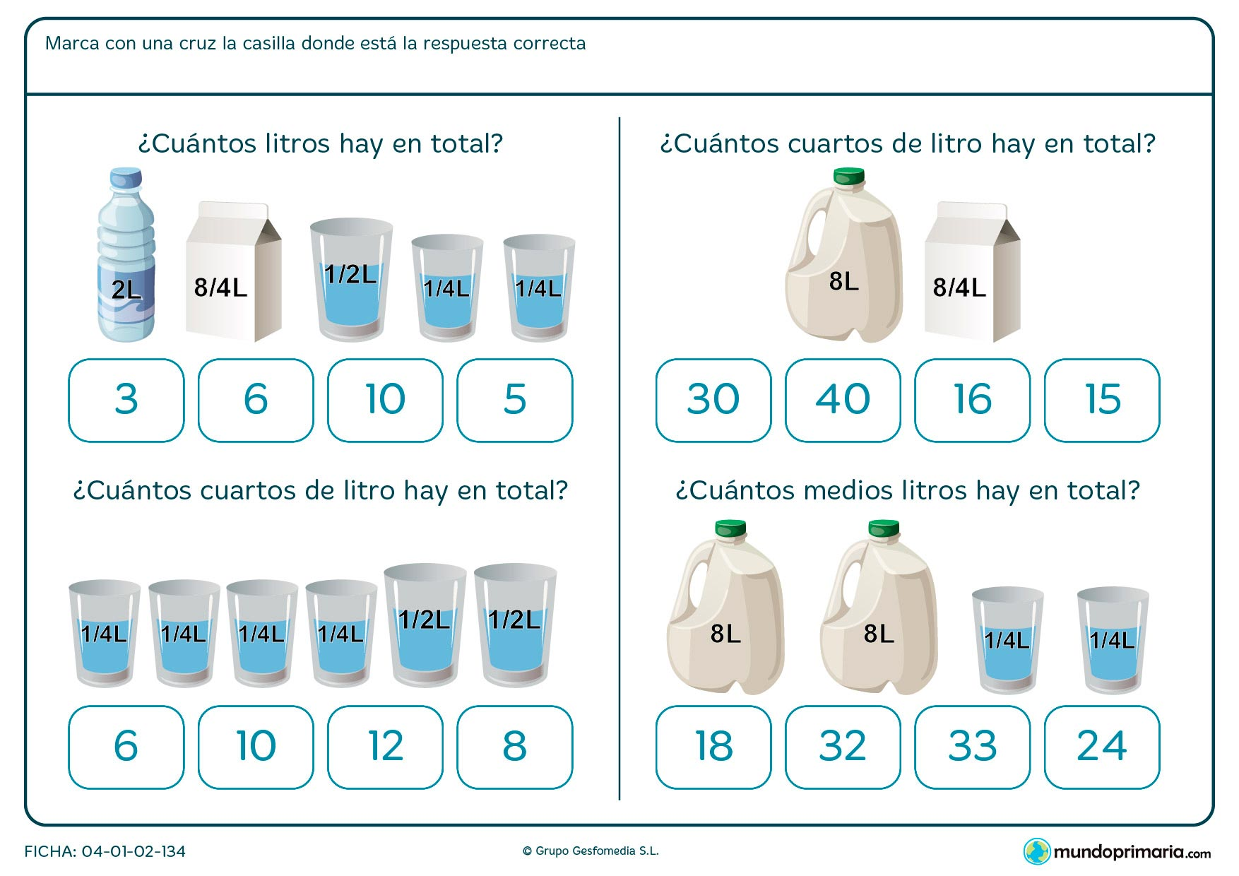 Ficha de cálculo de capacidad para niños de siete a ocho años en la que tendrán que manejar las unidades de capacidad y su equivalencia.