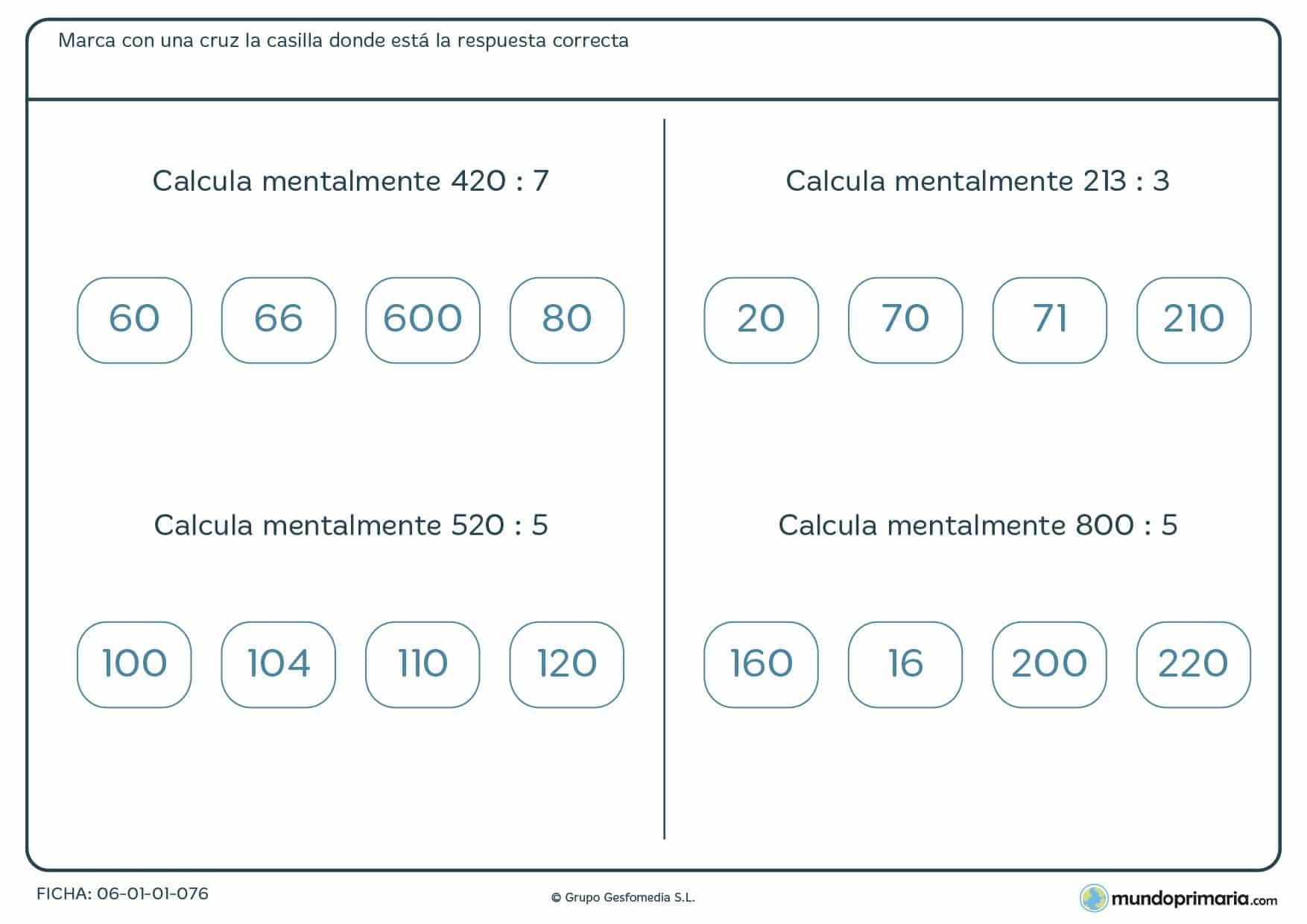 Ficha con cuatro divisiones de cálculo de divisiones exactas con ceros perfecta para cuatro de Primaria