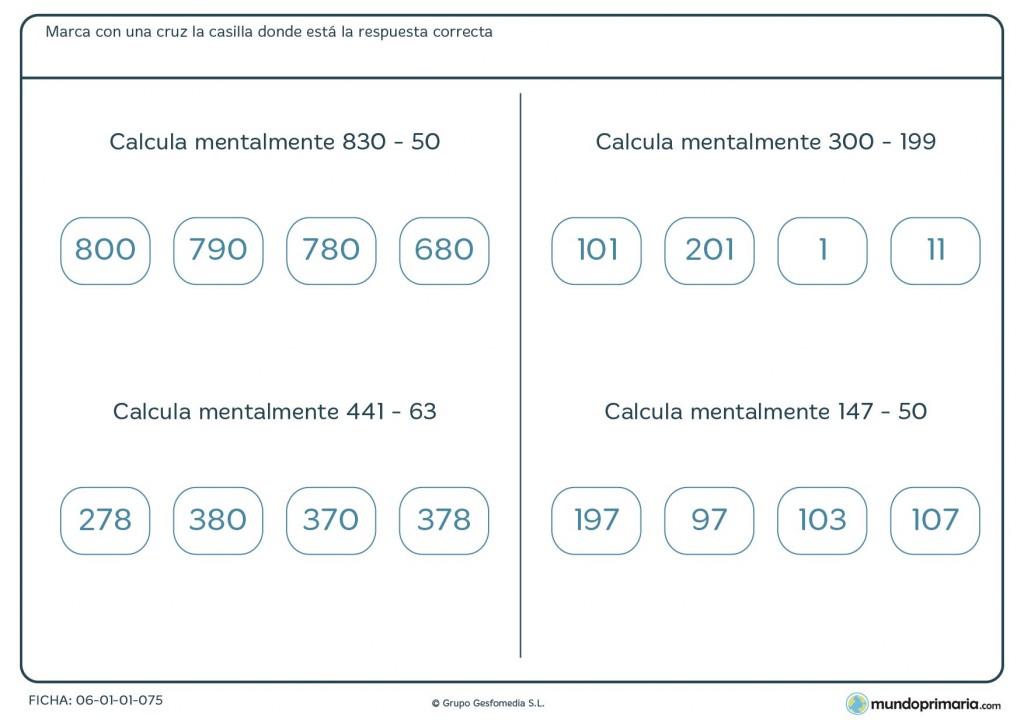 Ficha de cálculo mental de restas para cuatro de Primaria