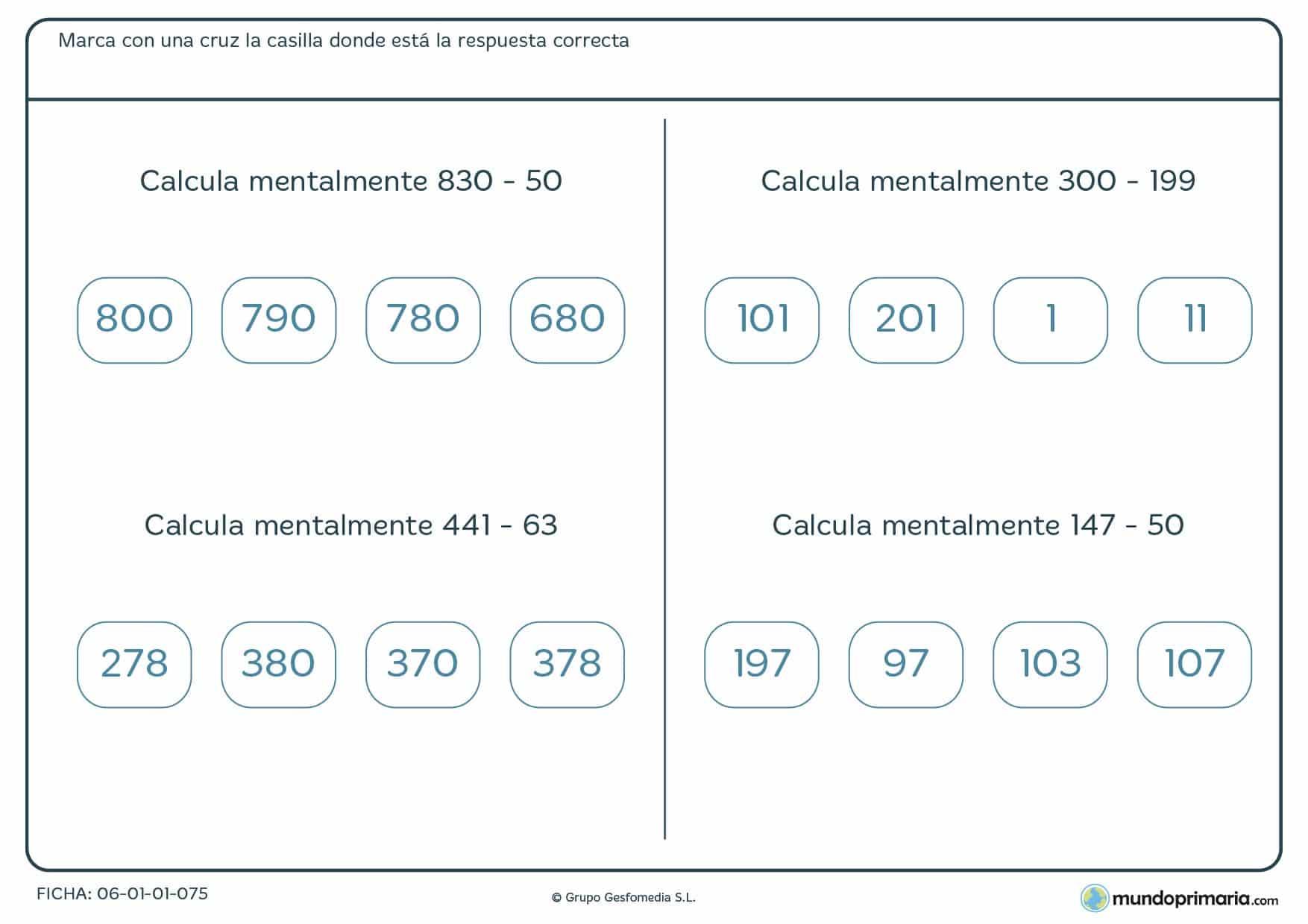 Ficha de cálculo mental de restas para alumnos de 4º de Primaria en la que mejorarán su destreza con cuatro ejercicios de restas