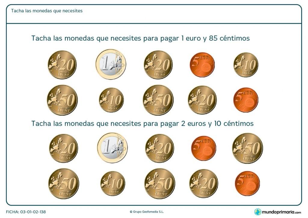 Ficha de calcular las monedas necesarias para Primaria